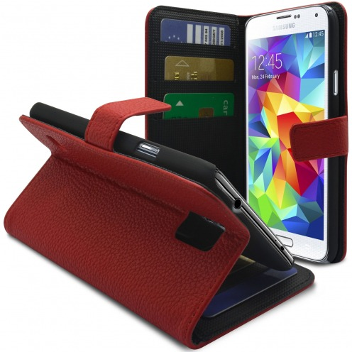 Smart Cover Galaxy S5 Cuirette Pleine Fleur Rouge