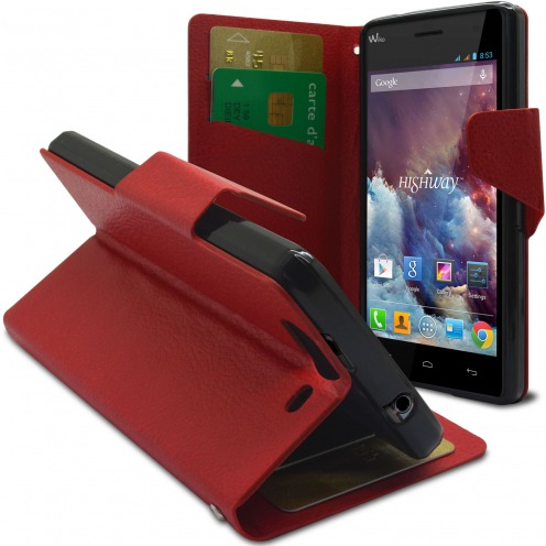 Smart Cover Wiko Highway Cuir PU grain maroquinerie Rouge