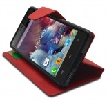 Photo réelle de Smart Cover Wiko Highway Cuir PU grain maroquinerie Rouge