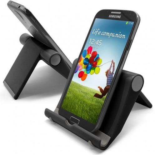Vue complémentaire de Support de bureau universel pour smartphones et tablettes noir brillant