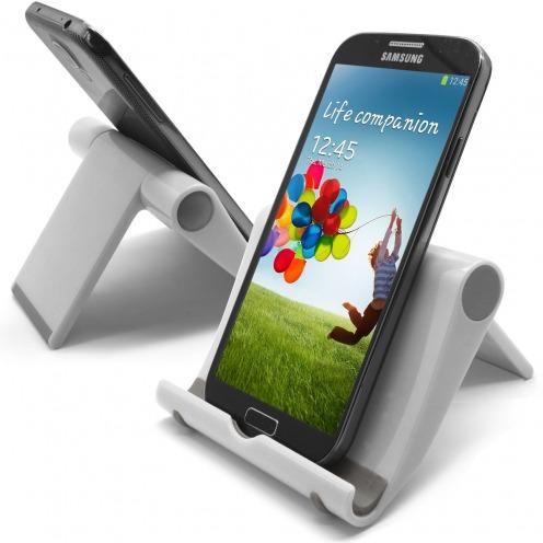 Vue complémentaire de Support de bureau universel pour smartphones et tablettes blanc laqué
