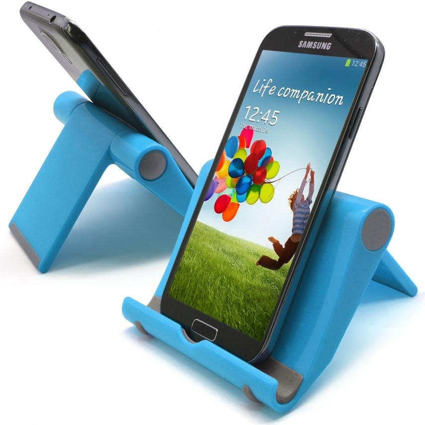 Vue complémentaire de Support de bureau universel pour smartphones et tablettes bleu fluo