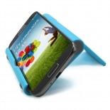 Vue portée de Support de bureau universel pour smartphones et tablettes bleu fluo