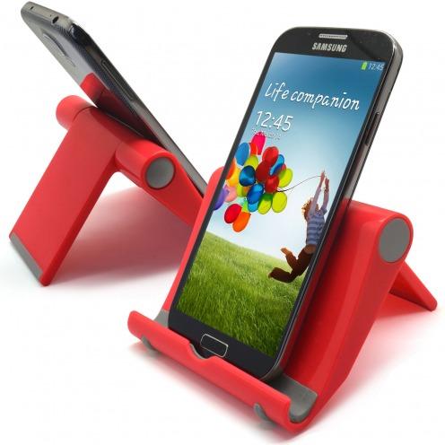 Support de bureau universel pour smartphones et tablettes rouge fluo