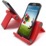 Vue complémentaire de Support de bureau universel pour smartphones et tablettes rouge fluo