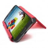 Vue portée de Support de bureau universel pour smartphones et tablettes rouge fluo