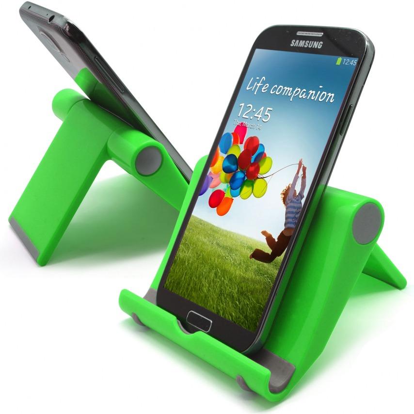 Vue complémentaire de Support de bureau universel pour smartphones et tablettes vert fluo