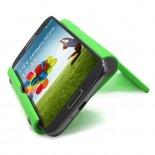 Vue portée de Support de bureau universel pour smartphones et tablettes vert fluo