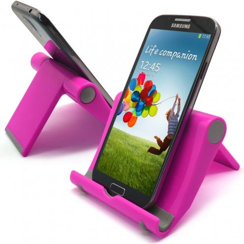 Vue complémentaire de Support de bureau universel pour smartphones et tablettes rose fluo