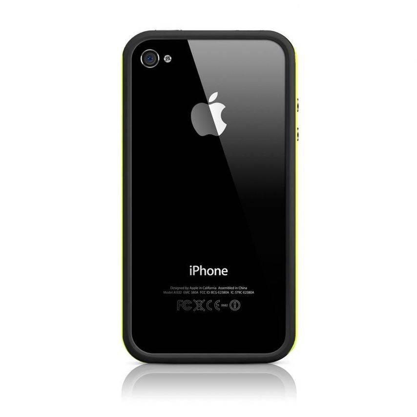 Visuel supplémentaire de Coque Bumper HQ Noir / Jaune Pour iPhone 4S / 4