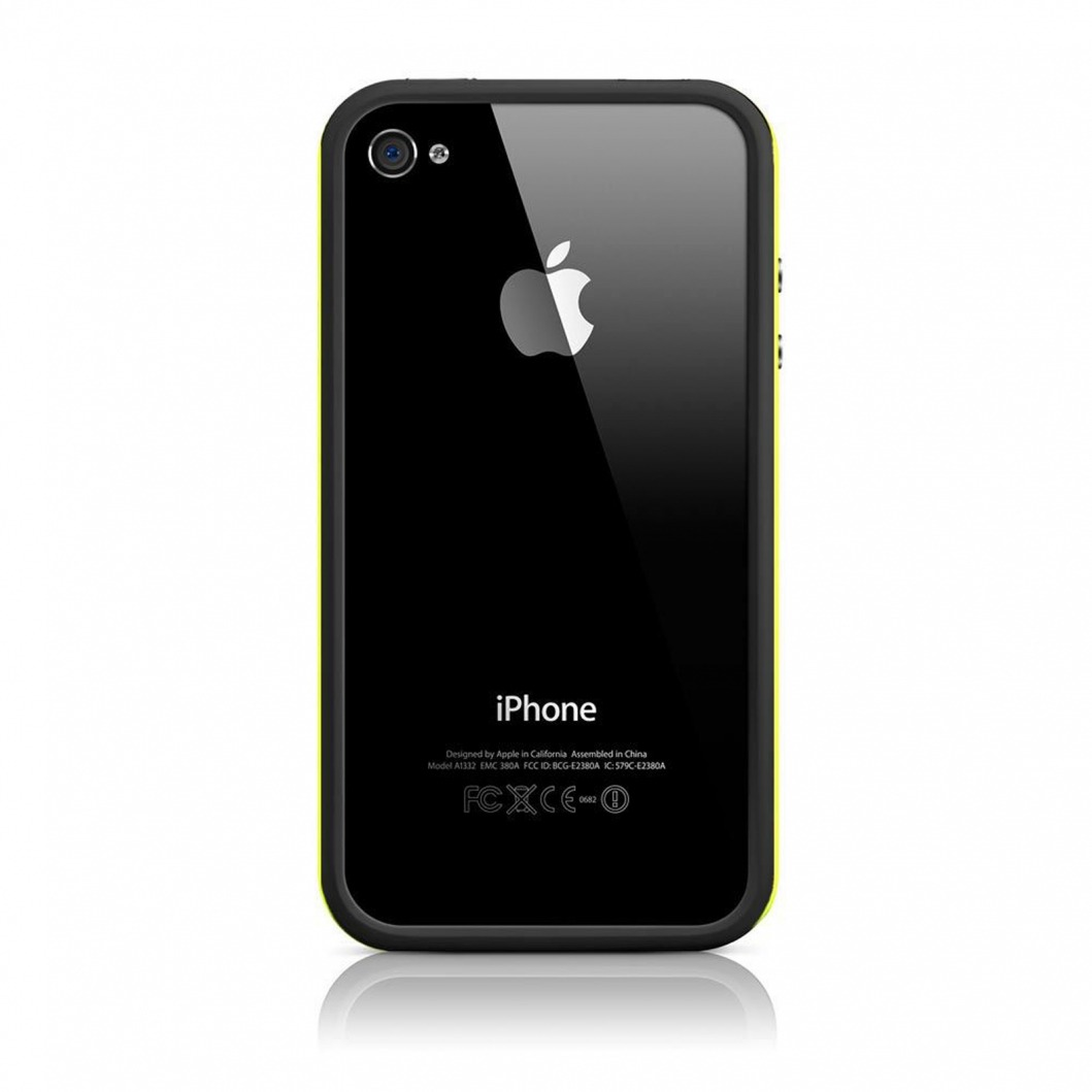 coque bumper hq noir jaune pour apple iphone 4s 4. Black Bedroom Furniture Sets. Home Design Ideas
