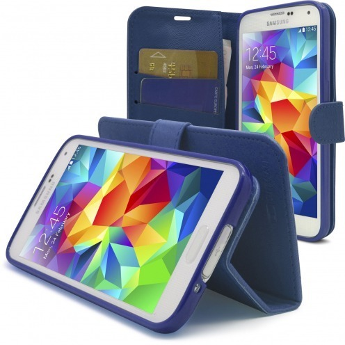 Smart Cover Galaxy S5 Folio Skin Texture Bleu