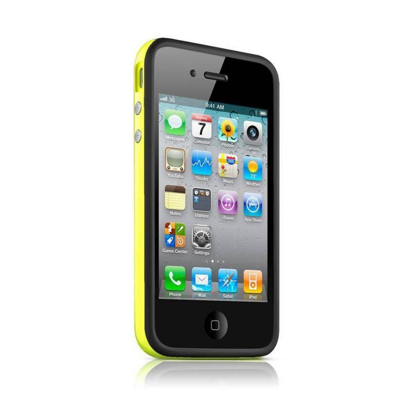 Vue complémentaire de Coque Bumper HQ Noir / Jaune Pour iPhone 4S / 4
