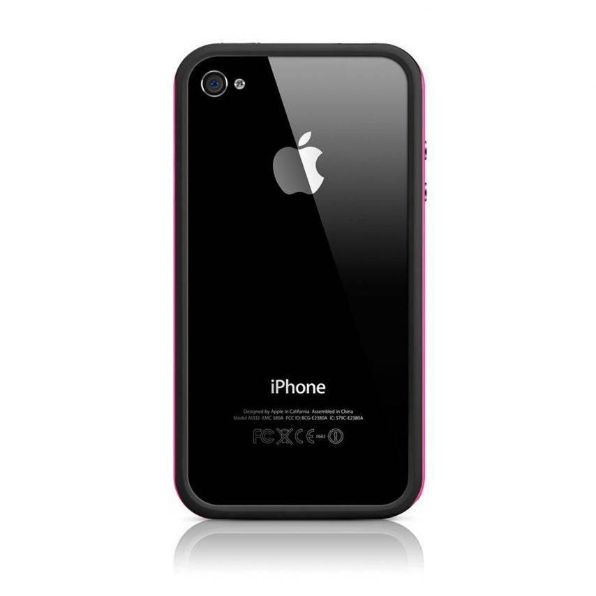 Visuel supplémentaire de Coque Bumper HQ Noir / Rose Pour iPhone 4S / 4