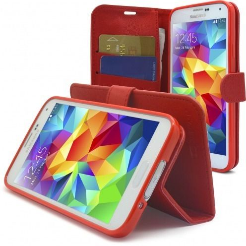 Vue Principale de Smart Cover Galaxy S5 Folio Skin Texture Rouge