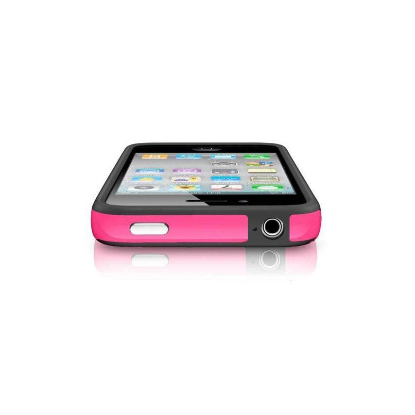 Vue complémentaire de Coque Bumper HQ Noir / Rose Pour iPhone 4S / 4