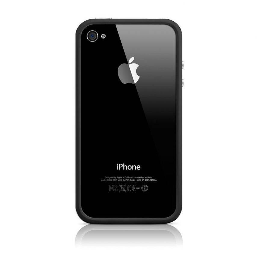 Visuel supplémentaire de Coque Bumper HQ Blanc / Noir Pour iPhone 4S / 4