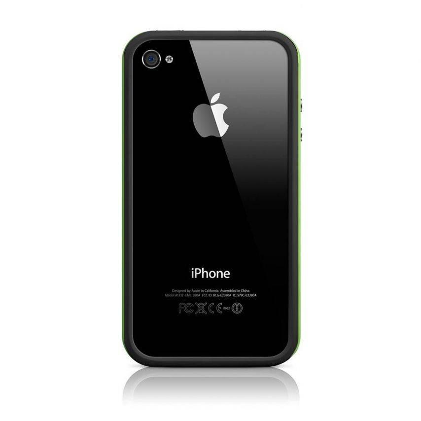 Visuel supplémentaire de Coque Bumper HQ Noir / Vert Pour iPhone 4S / 4