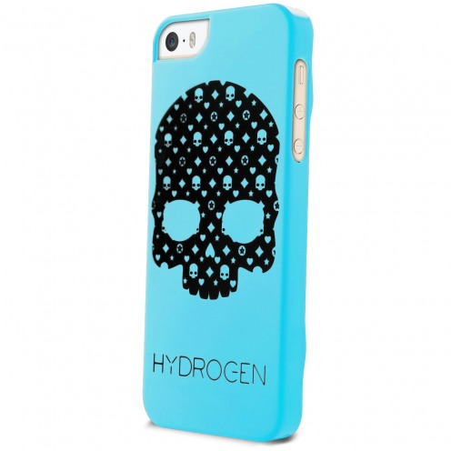 Coque iPhone 5/5S/SE Hydrogen LV Skull Bleue Phosphorescente