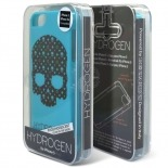 Photo réelle de Coque iPhone 5/5S Hydrogen LV Skull Bleue Phosphorescente