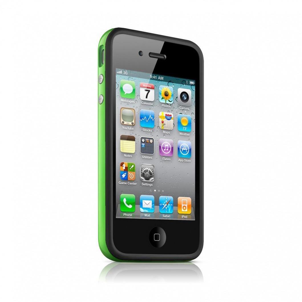 coque bumper hq noir vert pour iphone 4s 4