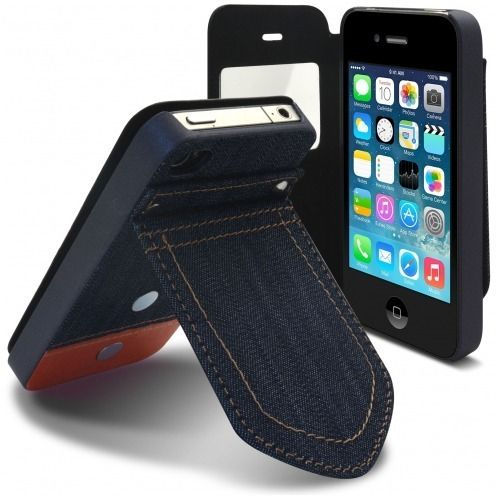 Vue portée de Coque Folio iPhone 4 / 4S Jeans Pocket Stand Orange