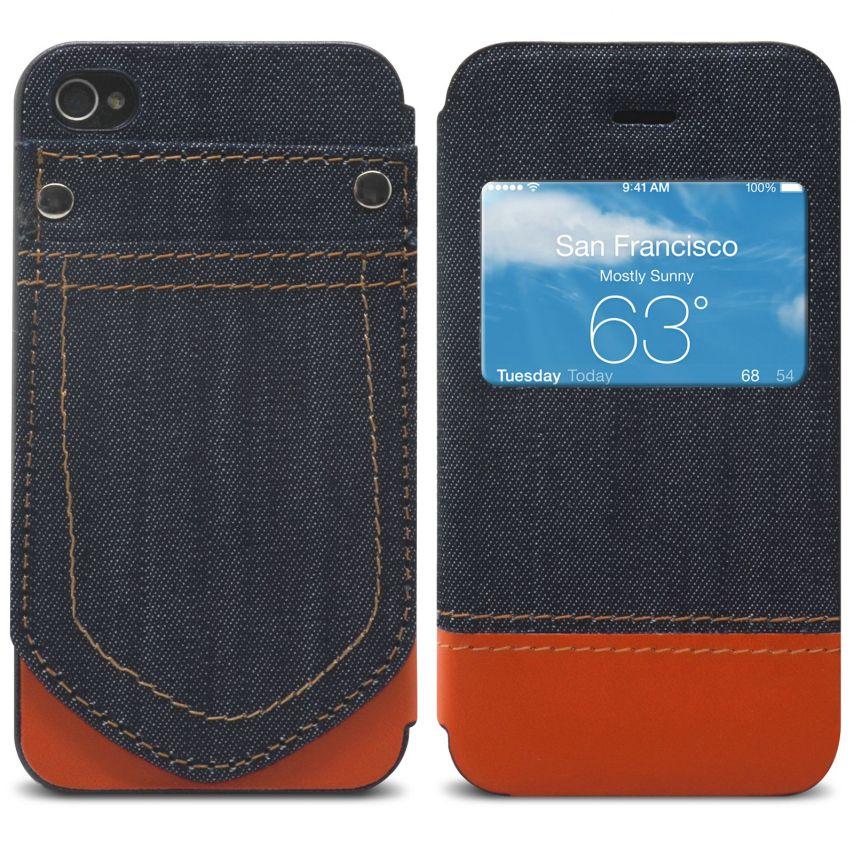 Vue détaillée de Coque Folio iPhone 4 / 4S Jeans Pocket Stand Orange