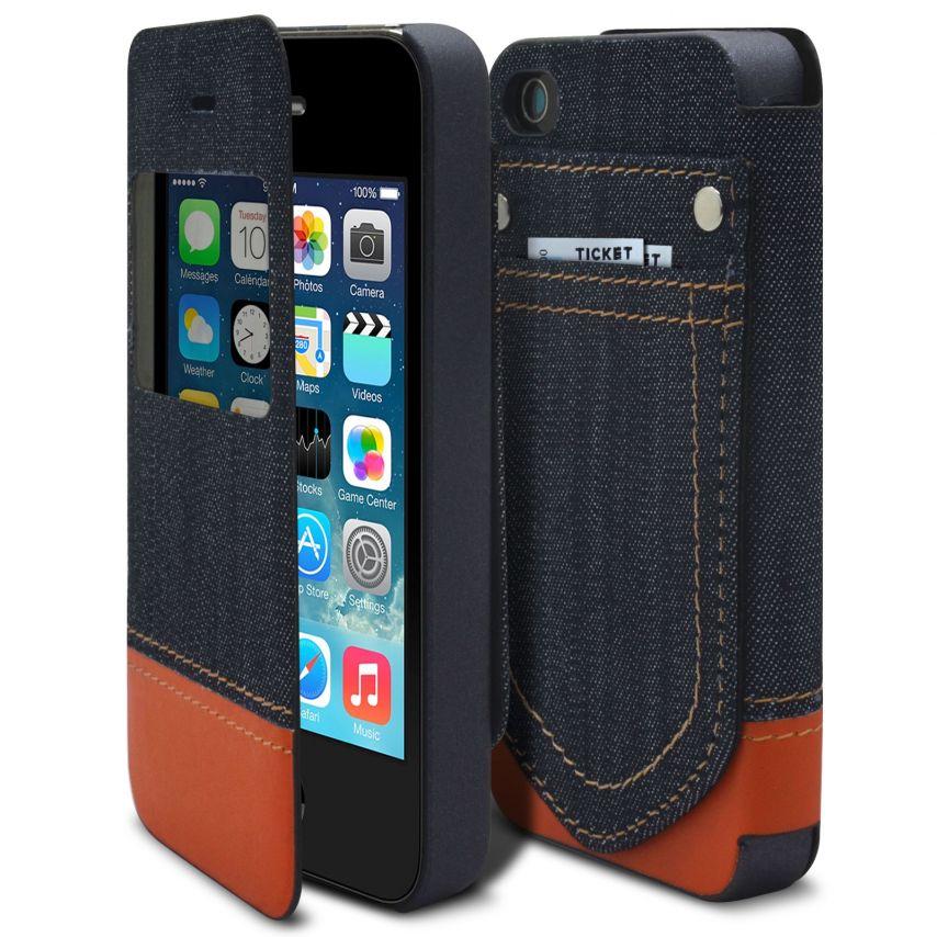 Zoom sur Coque Folio iPhone 4 / 4S Jeans Pocket Stand Orange