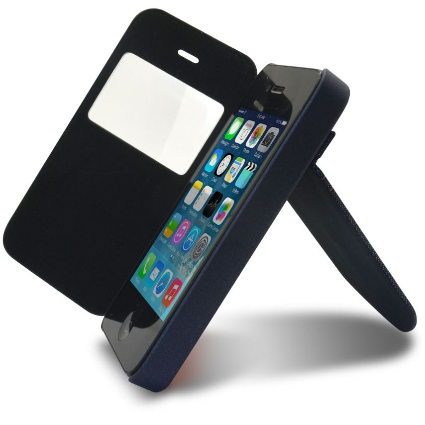 Visuel unique de Coque Folio iPhone 4 / 4S Jeans Pocket Stand Orange