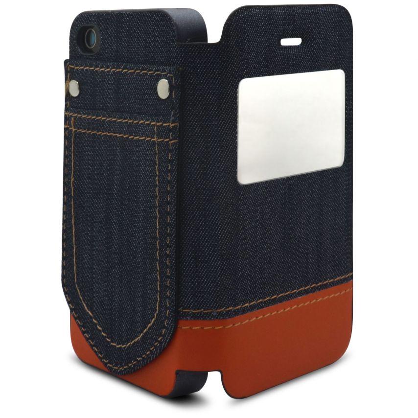 Visuel supplémentaire de Coque Folio iPhone 4 / 4S Jeans Pocket Stand Orange