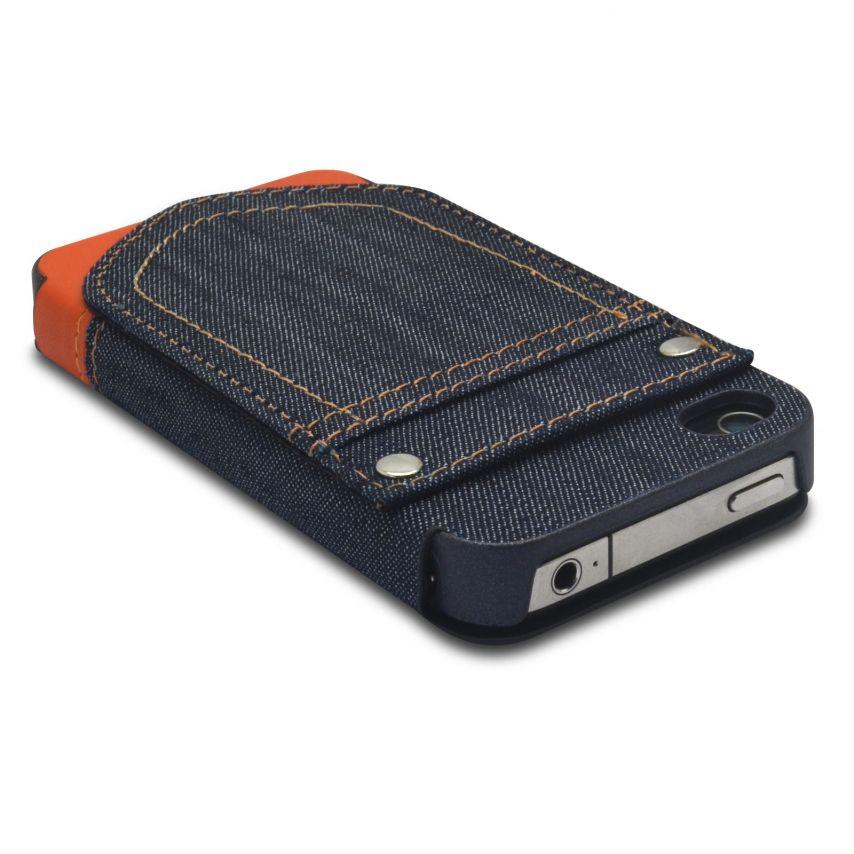 Vue complémentaire de Coque Folio iPhone 4 / 4S Jeans Pocket Stand Orange