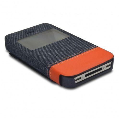 coque folio iphone 4 4s jeans pocket stand orange