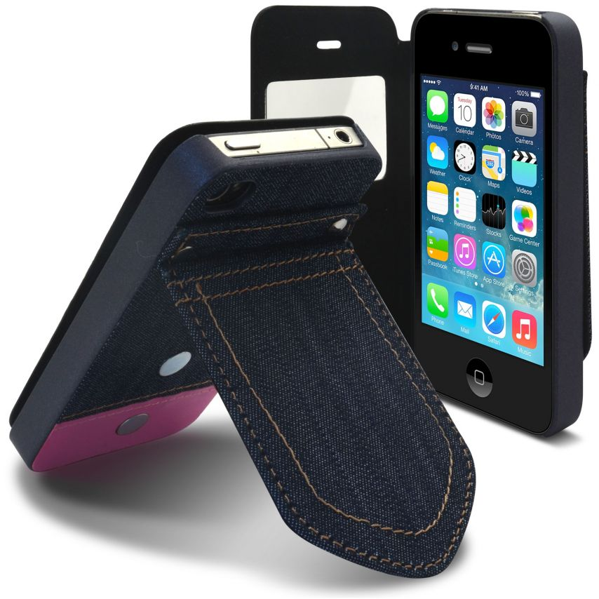 Vue portée de Coque Folio iPhone 4 / 4S Jeans Pocket Stand Rose