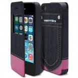 Zoom sur Coque Folio iPhone 4 / 4S Jeans Pocket Stand Rose