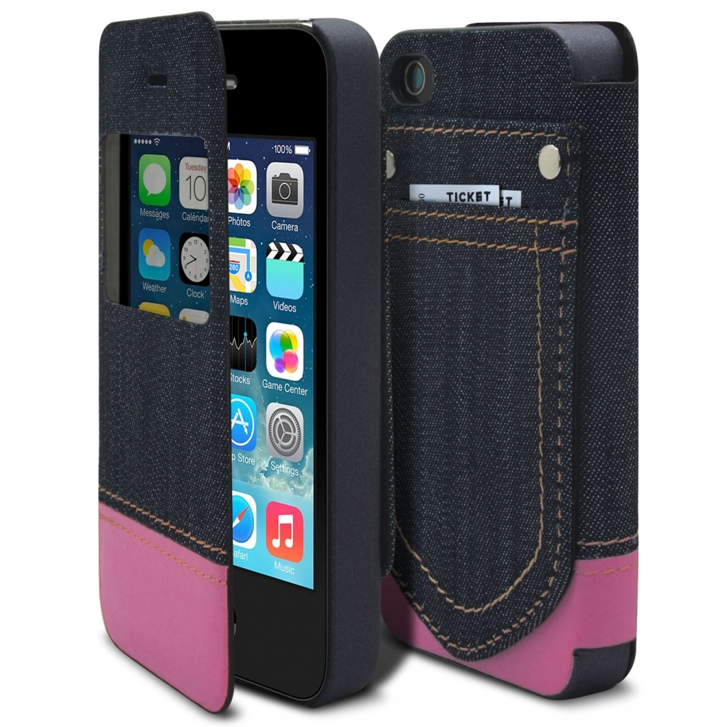 coque folio iphone 4 4s jeans pocket stand rose. Black Bedroom Furniture Sets. Home Design Ideas