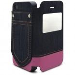 Visuel supplémentaire de Coque Folio iPhone 4 / 4S Jeans Pocket Stand Rose