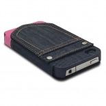 Vue complémentaire de Coque Folio iPhone 4 / 4S Jeans Pocket Stand Rose