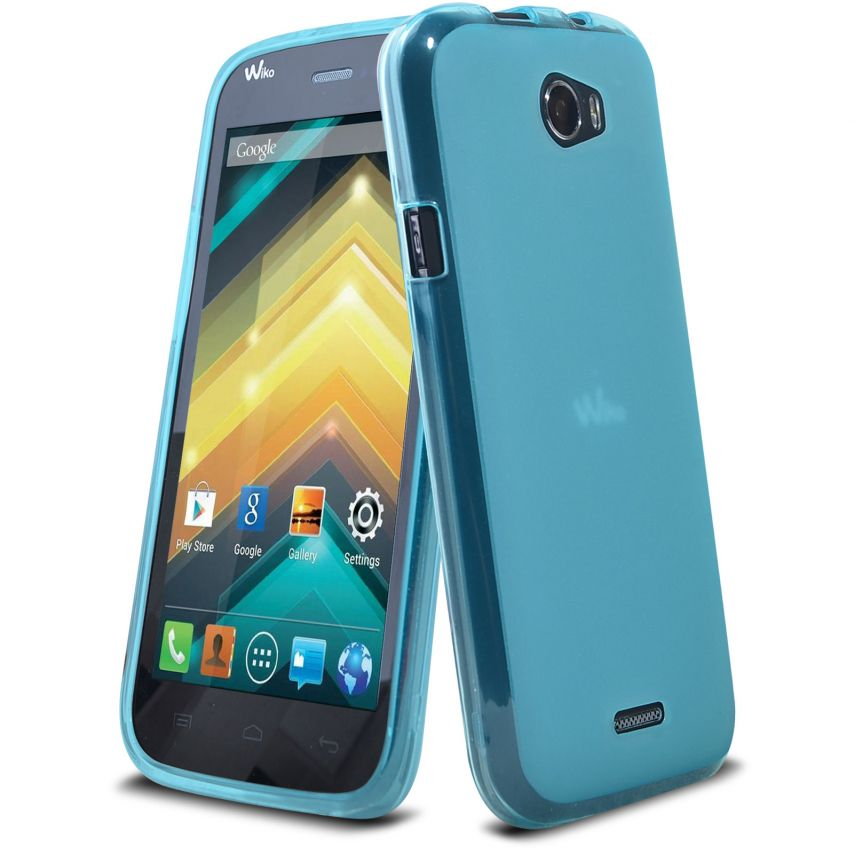 Zoom sur Coque Wiko Barry Frozen Ice Extra Fine Bleue