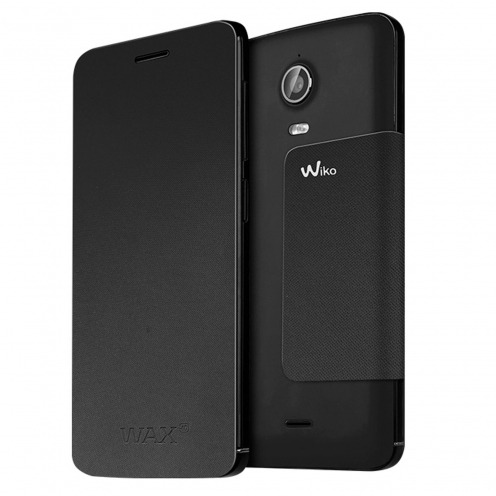 Visuel unique de Smart Folio Stand Wiko® Officiel Back Cover Noire pour Wiko Wax