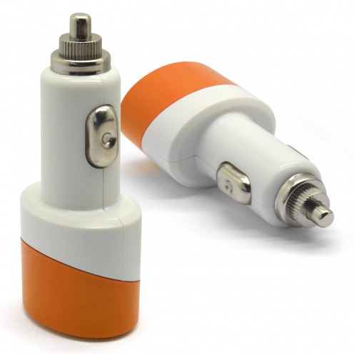 Chargeur voiture / Allume cigare Double USB 2.1A + 1A Colors Orange