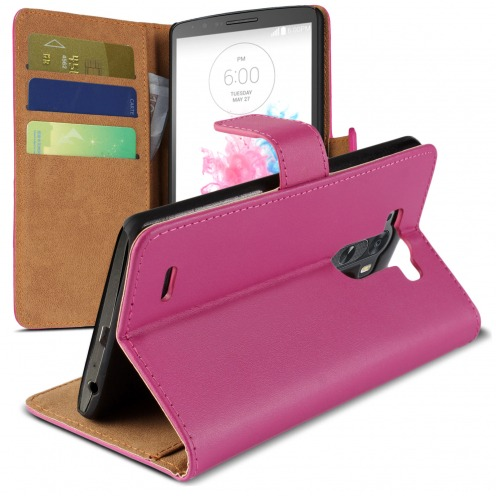 Housse Folio Stand LG G3 Cuir Eco Executive Fuchsia
