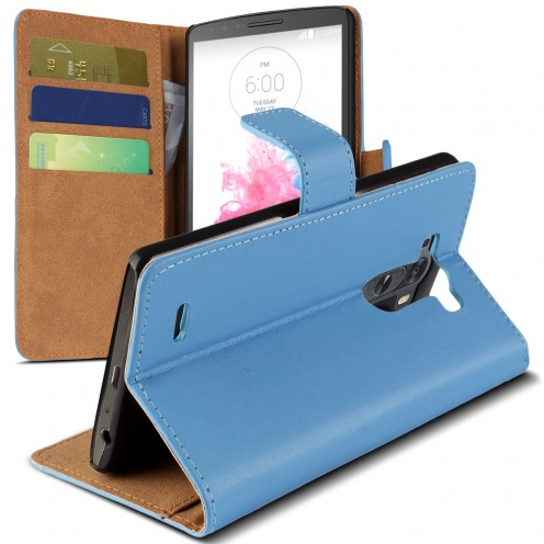 Housse Folio Stand LG G3 Cuir Eco Executive Bleu