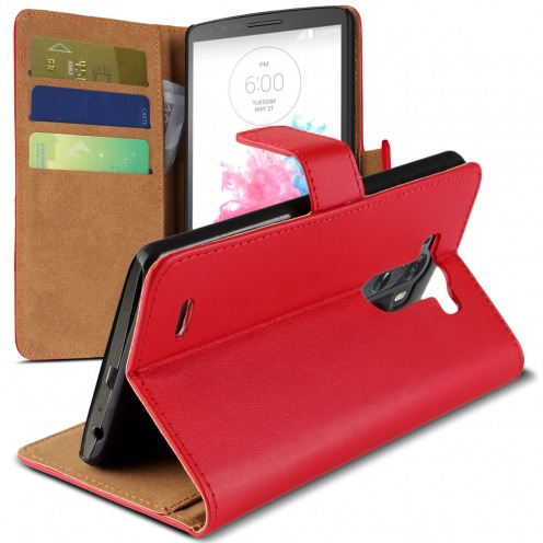 Housse Folio Stand LG G3 Cuir Eco Executive Rouge