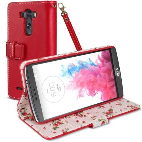 Housse Folio Stand LG G3 Country Florale Rouge
