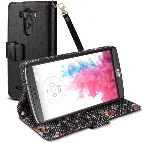 Housse Folio Stand LG G3 Country Florale Noire
