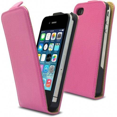 Housse Etui Cuir Pleine Fleur à clapet Rose iPhone 4S / 4