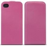 Vue complémentaire de Housse Etui Cuir Pleine Fleur à clapet Rose iPhone 4S / 4