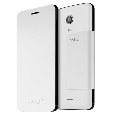 Visuel unique de Smart Folio Stand Wiko® Officiel Back Cover Blanc pour Wiko Wax