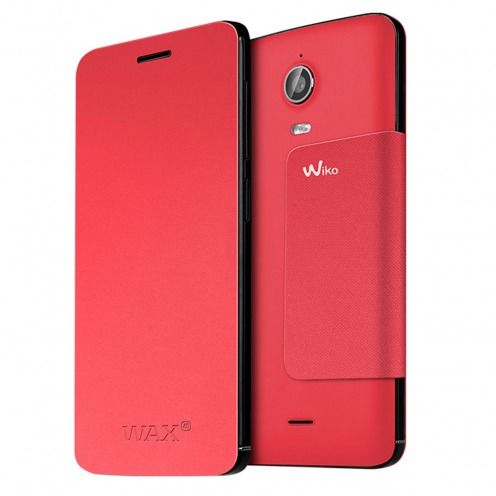 Visuel unique de Smart Folio Stand Wiko® Officiel Back Cover Corail pour Wiko Wax