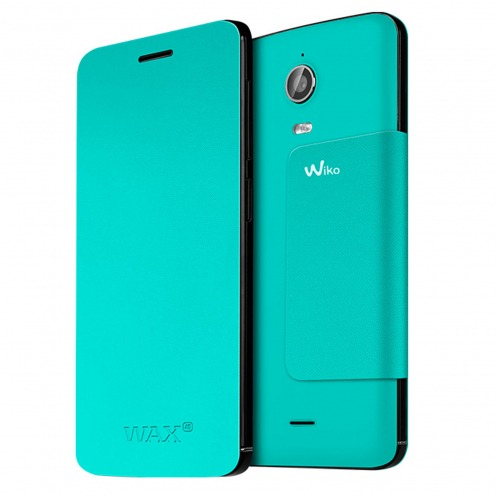 Smart Folio Stand Wiko® Officiel Back Cover Bleu Turquoise pour Wiko Wax